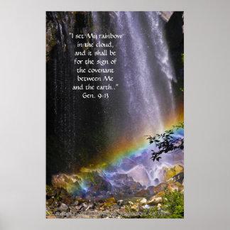 Waterfall and Rainbow Print w/Scripture Verse