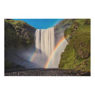 Waterfall and rainbow wood wall art