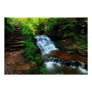 Waterfall and Stone Stairway 19x13 Poster