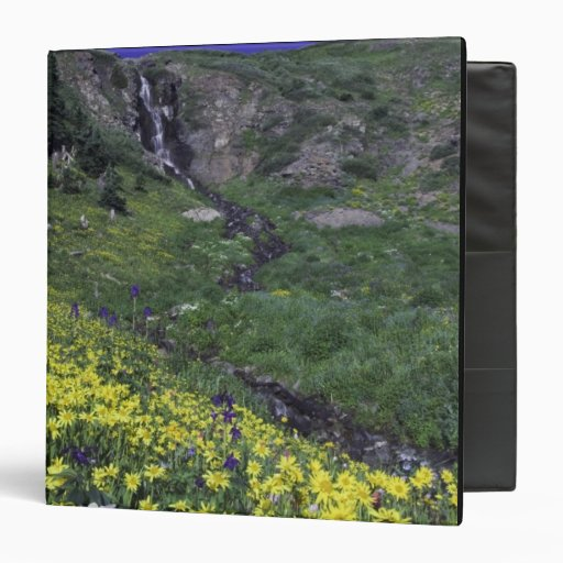 Waterfall and wildflowers in alpine meadow, binder