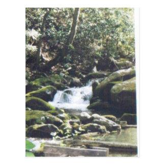 waterfall around the rocks #63 postcard