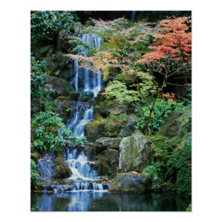 Waterfall at Japanese Garden Posters