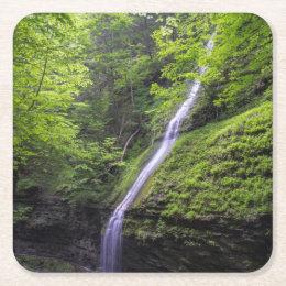 Waterfall at Watkins Glen, NY Square Paper Coaster