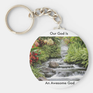 Waterfall - Awesome God Basic Round Button Keychain