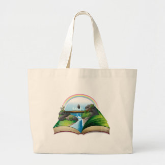 Waterfall book jumbo tote bag