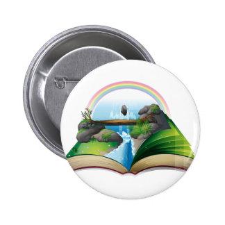 Waterfall book 2 inch round button