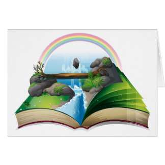 Waterfall book greeting card