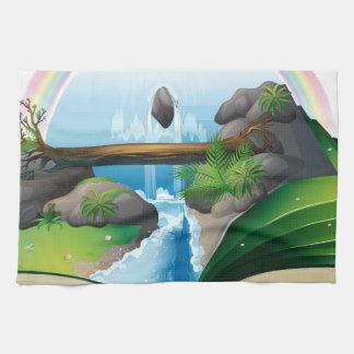 Waterfall book hand towel