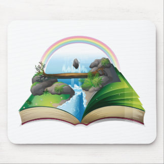 Waterfall book mouse pad