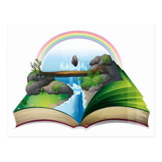 Waterfall book postcard