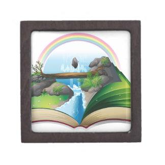 Waterfall book premium jewelry box