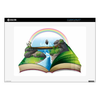 Waterfall book decal for laptop