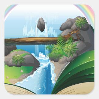 Waterfall book square sticker