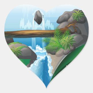 Waterfall book heart sticker