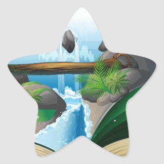 Waterfall book star sticker