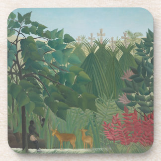 Waterfall by Henri Rousseau, Vintage Impressionism Beverage Coaster