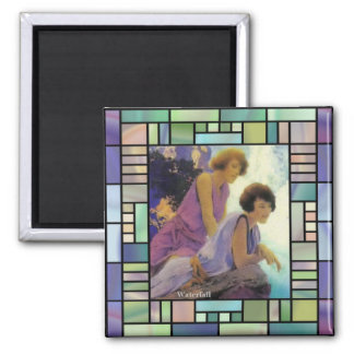 """Waterfall"", by Maxfield Parrish 2 Inch Square Magnet"