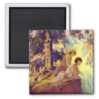 Waterfall - by Maxfield Parrish 2 Inch Square Magnet