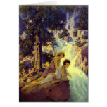 """""""Waterfall"""", by Maxfield Parrish Greeting Card"""