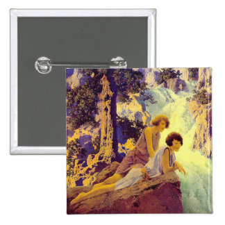 Waterfall - by Maxfield Parrish Pinback Button