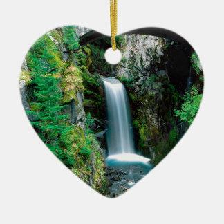 Waterfall Christine Mount Rainier Double-Sided Heart Ceramic Christmas Ornament