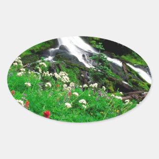 Waterfall Cool Mount Adams Oval Sticker