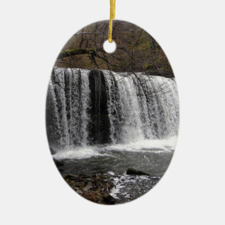 WaterFall country in wales, Brecon beacons Double-Sided Oval Ceramic Christmas Ornament