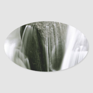 WATERFALL DETAIL IN SEPIA OVAL STICKER