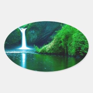 Waterfall Eagle Wilderness Area Columbia Oval Sticker
