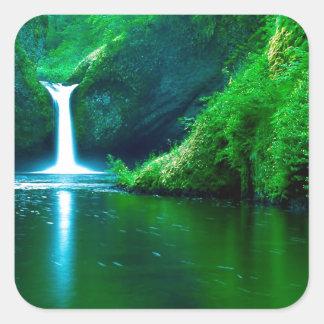 Waterfall Eagle Wilderness Area Columbia Square Sticker