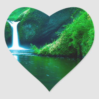 Waterfall Eagle Wilderness Area Columbia Heart Sticker