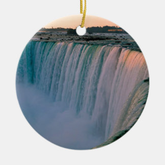 Waterfall Falling Love Niagara Ontario Canada Double-Sided Ceramic Round Christmas Ornament