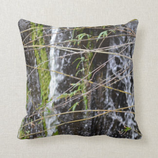 waterfall green moss twigs plant background throw pillows