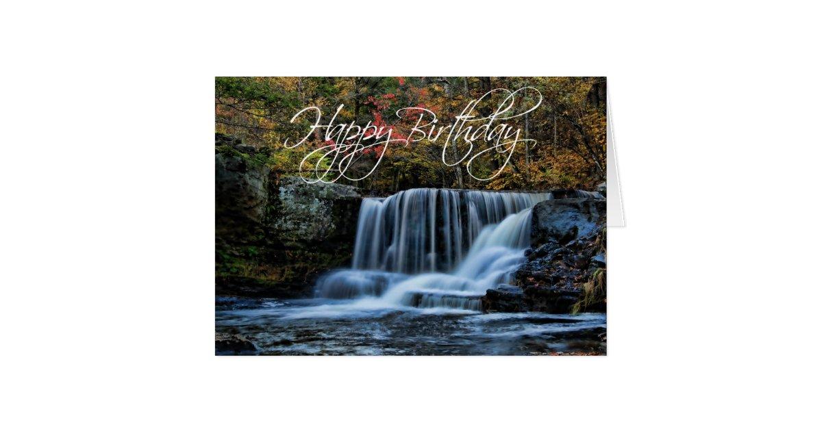 Waterfall in Autumn Happy Birthday Card
