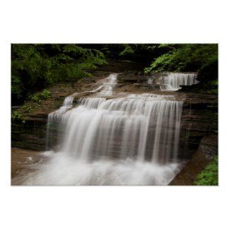 Waterfall in Buttermilk Falls State Park, New York Poster