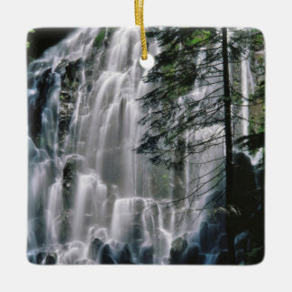 Waterfall in forest, Oregon Ceramic Ornament