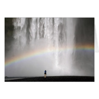 Waterfall in Iceland with a rainbow Card