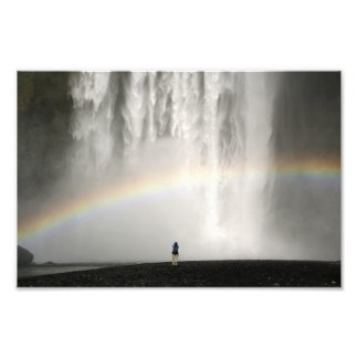Waterfall in Iceland with a rainbow Photo