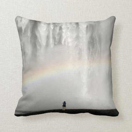 Waterfall in Iceland with a rainbow Pillow