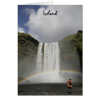 Waterfall in Iceland with rainbow Card