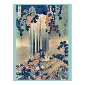 Waterfall in Mino Province by Katsushika,Hokusai Postcard