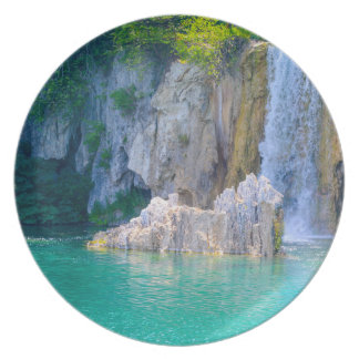 Waterfall in Plitvice National Park in Croatia Dinner Plate
