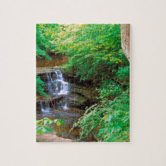 Waterfall In Starved Rock State Park Illinois Jigsaw Puzzle