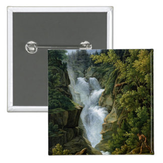 Waterfall in the Bern Highlands, 1796 2 Inch Square Button