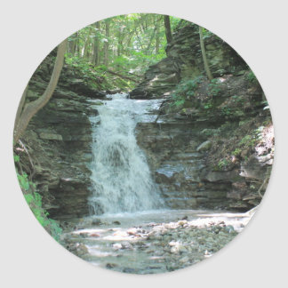 Waterfall in Woods Classic Round Sticker