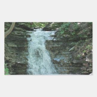 Waterfall in Woods Rectangular Sticker