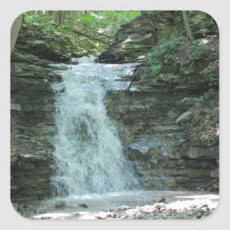 Waterfall in Woods Square Sticker