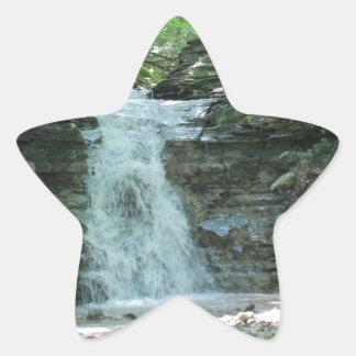 Waterfall in Woods Star Sticker