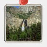 Waterfall in Yosemite National Park, California, Square Metal Christmas Ornament