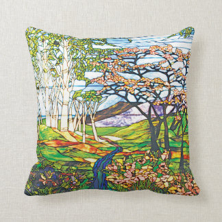 Waterfall Iris Birch Tiffany Stained Glass Window Throw Pillow